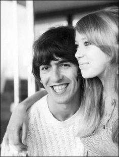 """George & Pattie on their honeymoon inside of their rented cottage, Benclare, located at Gibbs Beach, Barbados. February 1966 Photos: Harry Benson """"We spent our honeymoon in Barbados in a fabulous..."""