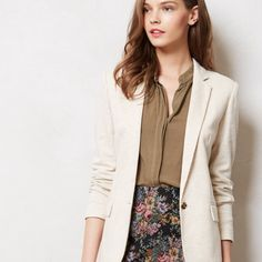 ✨HP✨Anthropologie Cartonnier Dotside Blazer NWT By combining feminine sensibilities with menswear-inspired materials and contemporary cuts, Cartonnier creates whimsical yet intellectual pieces, such as this preppy knit jacket. Pop it over a shirtdress and cuff the sleeves to show off the spots. Tan elbow patches, adorable blue and white polka dot lining, three button detail at cuff. Brand new with original tags. Comes with extra buttons. By Cartonnier Front pockets Button front…