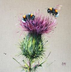 Georgina McMaster - Drouthy Neebors II - art worlds Bee Painting, Painting & Drawing, Bee Drawing, Thistle Flower, 1 Tattoo, Bee Art, Oeuvre D'art, Painting Inspiration, Watercolor Paintings