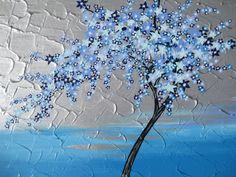 blue turquoise metallic silver cherry blossom tree painting  trees large abstract art zen oriental gray grey Japanese art wall decor. $250.00, via Etsy.