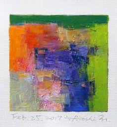 "Feb. 25, 2017 9 cm x 9 cm (app. 4"" x 4"") oil on canvas  © 2017 Hiroshi Matsumoto"
