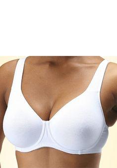T-Shirt-BH mit Formbügel im praktischem 2er Pack: 1x weiß und 1x schwarz.  Der hohe Baumwollanteil sorgt für ein angenehmes Tragegefühl. Nahtlos vorgeformte Cups - nichts zeichnet sich ab. Gepolsterte Träger für optimalen Tragekomfort. Träger und Rückenverschluss verstellbar.   Der T-Shirt-BH ist aus 90% Baumwolle, 10% Elasthan....