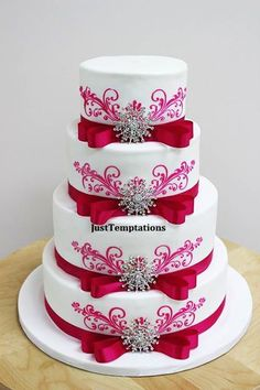 Bling & Bows Wedding Cake by Just Temptations