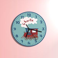 Train clock  kids room  mini train clock  extra quiet clockwork coloured modern wall clock retro wall clock wooden wall clock, nursery décor