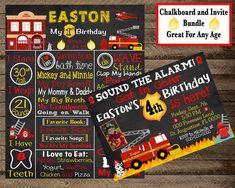 Firefighter Birthday Invite, Fireman, invitation, boy first birthday, firefighter chalkboard, fire truck birthday, board, firetruck, 1st 2nd Boy First Birthday, Birthday Board, 21st Birthday, Fireman Party, Firefighter Birthday, Birthday Party Decorations, Party Themes, Birthday Chalkboard, Firetruck