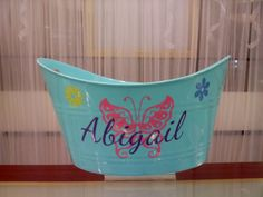 Personalized Easter Basket Bucket by VinylDecalsandGlass on Etsy, $8.00