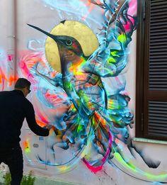 Un oiseau qui fait... mouche ! / Oiseau-mouche. / Hummingbird. / Street art. / By L7M.