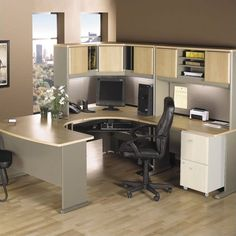 Bush Business Series A 5 Piece U Shape Corner Desk In Light Oak
