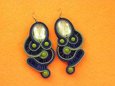 black green blue soutache earrings