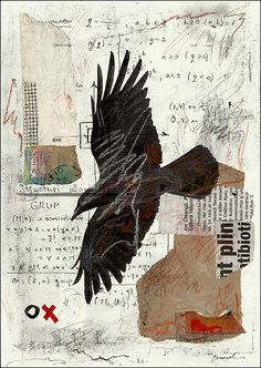 PRINT Raven - Mixed media collage By Mirel E.Ologeanu