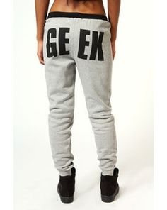 Maria Geek Print Joggers With Contrast Waistband, Boohoo