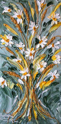 "FOR SALE: ""Margarita's Daisies"" - an impasto painting by Barbara Scharpf of Creative Womanhood. #impasto #acrylic #bouquet #daisy #margarita #summer #original #texture #painting"