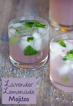 cocktails Made with a lavender simple syrup and homemade lemonade muddled with mint, these Lavender Lemonade Mojitos are the prettiest color and make for the perfect summer cocktail. Summer Drinks, Cocktail Drinks, Cocktail Recipes, Alcoholic Drinks, Beverages, Drink Recipes, Spring Cocktails, Cocktail Ideas, Bourbon Drinks
