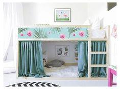 Loft Bed Curtains, Baby Room Curtains, Ikea Nursery, Ikea Bedroom, Nursery Decals, Lego Bedroom, Bed For Girls Room, Girls Bedroom, Childs Bedroom