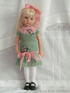 "13"" Effner Little Darling BJD pink & green mohair dress OOAK handmade by JEC #DollClothingAccessories"