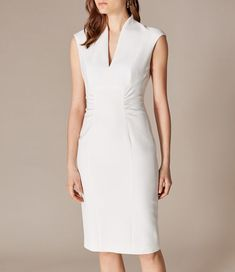Buy Gina Bacconi Moss Crepe Dress, Lemon Drizzle from our Women's Dresses range at John Lewis & Partners. Karen Millen, Office Dresses, Dresses For Work, Stylish Work Outfits, Smart Dress, Corset, Overall, Ivoire, Crepe Dress