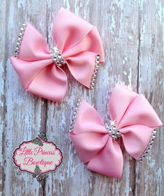 Pink Pinwheel Hair Bows set by LilPrincessBowtique8 on Etsy