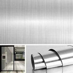 Livelynine Brushed Nickel Vinyl Peel and Stick Wallpaper Decorative Stainless Steel Wall Paper for Countertops Kitchen Cabinets Appliance Dishwasher Mini Refrigerator Oven Dryer Covers Inch Vinyl Paper, Pvc Vinyl, Peel And Stick Countertop, Stainless Steel Contact Paper, Cheap Kitchen Makeover, Papel Contact, Microwave In Kitchen, 50s Kitchen, Metallic Wallpaper