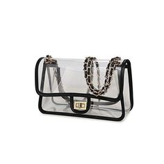 b63786c727 Lam Gallery Womens Clear Handbag Purses NFL Stadium Approved Clear Bag for  Football Games Turn Lock Chain Shoulder Crossbody Bags Transparent PVC  Vinyl ...