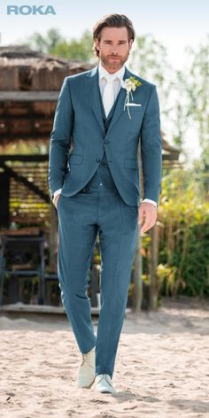 ROKA collectie | ROKA Green Wedding Suit, Wedding Suit Styles, Wedding Dresses Men Indian, Wedding Dress Men, Wedding Suits, Wedding Groom, Groom And Groomsmen Attire, Groom Wear, Groom Outfit