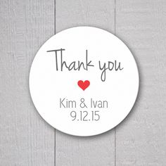 Wedding Thank you Stickers Personalized by OrangeUmbrellaCo
