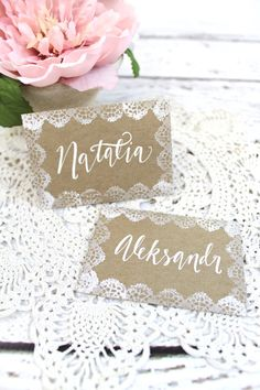 Lace Wedding Place Cards - Escort Cards - Dessert Cards - Food Labels -  Rustic Weddings - (PG-3)