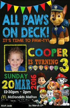 Paw Patrol Birthday Invitation