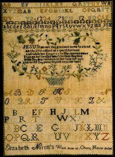 ELIZABETH NORRIS antique sampler from Huber