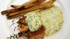 Gerookte zalm met gebakken asperges en mousselinesaus met dille | VTM Koken