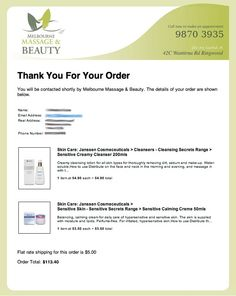 <p><a href=&quot;/pin/211317407486668920/&quot;></a>You don&apos;t need an expensive credit card gateway to have a great on-line ordering system. Check out the email sent went an order is placed at Melbourne Massage And Beauty. It&apos;s good to look at all the options when setting up your website.</p>