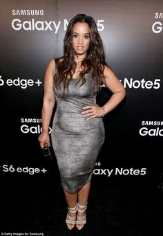 Metallic look: Orange Is The New Black star Dascha Polanco looked pretty in a grey dress