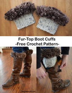 Fur-Top Boot Cuff I think boots are so cute to wear in the cooler seasons and a pair of boot cuffs really adds an additional layer of cuteness! I decided to make some fur-topped boot cuffs for this extra cold winter and I think they turned out g Crochet Boot Cuff Pattern, Knitted Boot Cuffs, Knit Leg Warmers, Crochet Boots, Knit Boots, Shoe Pattern, Crochet Slippers, Elf Boots, Crochet For Kids