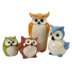 IMAX 4.75-9.75H in. Enchanted Owls - Set of 4 - Brightly colored and simply adorable, whooo wouldn't fall for the IMAX 4.75-9.75 in. Enchanted Owls - Set of 4? This family of four owls each ...