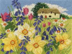 DMC counted cross stitch kit. Includes 14ct aida, pre-sorted DMC stranded cotton, charts and full instructions. Uses cross stitch, backstitch and french knots. 30 colours. - Available from Johnson Crafts http://www.johnsoncrafts.co.uk/seasonal-landscapes-spring-bloom.html