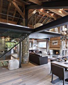 salon - bois - blanc - gris - chalet - moderne - maisons du monde ...