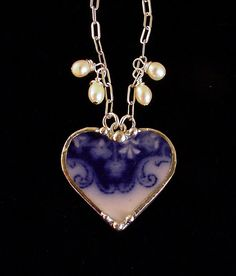 Broken China Jewelry heart pendant necklace Flow Blue shamrock clover china, pearls. $55.00, via Etsy.