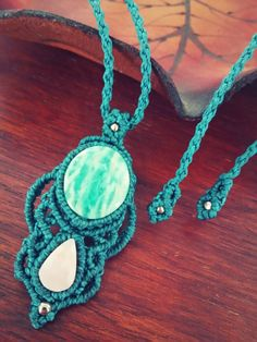 Handmade macrame necklace pendant with Amazonite and rose opal // by Maki Handmade