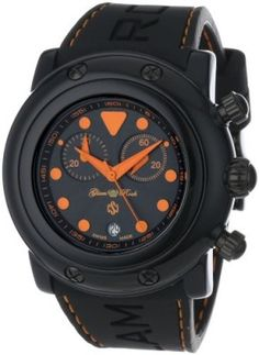 Relógio Glam Rock Women's GR61114-ORGS Miami Beach Chronograph Black Textured Dial Black Silicone Watch #Relógio #Glam