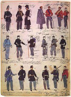 02 Uniformi in uso negli anni 1860, anche estere.