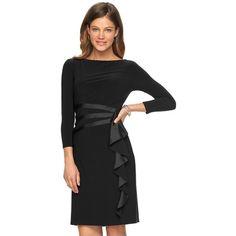 Petite Chaps Draped Sheath Dress ($83) ❤ liked on Polyvore featuring dresses, black, petite, 3/4 length sleeve dresses, petite formal dresses, drape dress, boat neck formal dress and form fitting formal dresses
