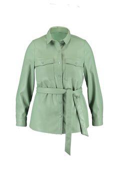 salie Pu leren jack met strikceintuur bij MS Mode® Blazer, Model, Products, Fashion, Long Dress Patterns, Jacket, Wall Stud, Moda