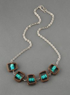 Caged Turquoise Necklace by MaggieJs on Etsy