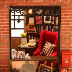 Kisoy Romantic and Cute Dollhouse Miniature DIY House Kit Creative Room Perfect DIY Gift for Friends, Lovers and Families (Century Bookstore) Wooden Dollhouse, Wooden Dolls, Diy Dollhouse, Dollhouse Miniatures, Diy Gifts For Friends, Mdf Wood, Kids Store, Kit Homes, Mini Mini
