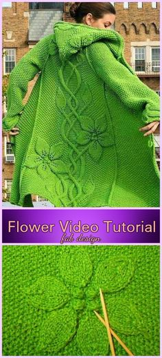 Knit Sylvi Flower Cardigan Coat Knitting Pattern with Video Tutorial Strick Sylvi Flower Cardigan Coat Strickmuster mit Video-Tutorial Poncho Knitting Patterns, Crochet Cardigan Pattern, Coat Patterns, Knitted Poncho, Easy Knitting, Loom Knitting, Crochet Shawl, Knit Crochet, Knitted Coat Pattern