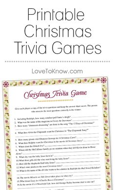A printable trivia game that covers all things Christmas, from popular music and movies to history and traditions, is great to play with the entire family .