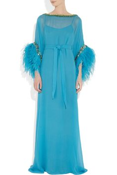Issa feather-trimmed silk-chiffon gown.  This is screaming for fuzzy slippers and a margarita, doncha think? :)