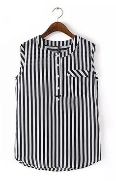 Love this vertical striped blouse! Chiffon Tops, Chiffon Blouses, White Sleeveless Blouse, Casual Outfits, Fashion Outfits, Women's Casual, Style Fashion, Black And White Blouse, Black White
