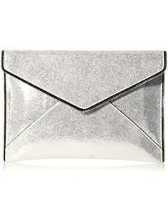Rebecca Minkoff Crackle Leather Leo Envelope Clutch, Silver, One Size ❤ Rebecca Minkoff Rebecca Minkoff Handbags, Envelope Clutch, Gifts For Women, Leo, Silver, Leather, Money, Lion