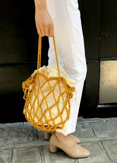 Net Crochet Bag w Removable Cloth Drawstring Interior Sac Lambswool Imported