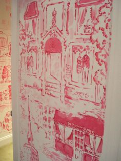 *** I Love the hand drawn or painted look of these walls!- *** Paige Smith Toile, Madison Ave Lilly Pulitzer store